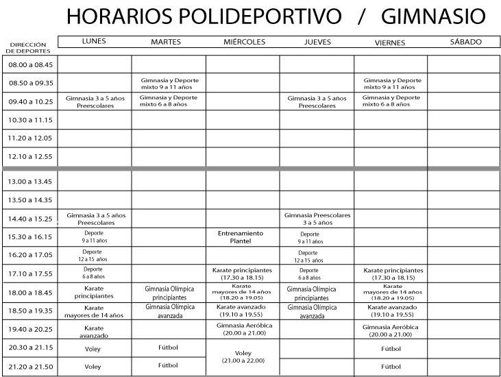 Polideportivo actividades y horarios for Horario gimnasio